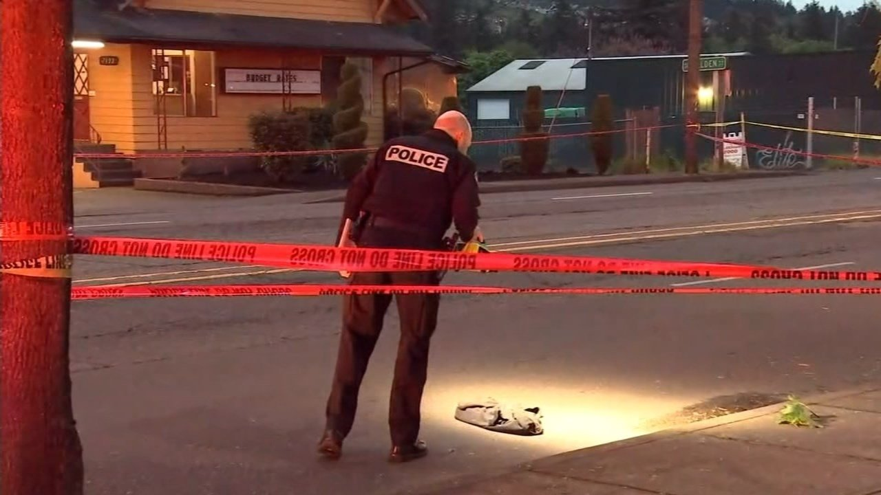 Scene of hit-and-run collision that killed a 45-year-old man on Southeast 82nd Avenue on May 5. (KPTV)