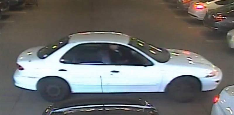 Surveillance image of wanted suspect's car. (Portland Police Bureau)