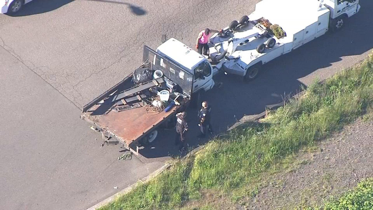 Truck that went onto sidewalk, hit two people and power poles in Canby. (KTPV/Air 12)