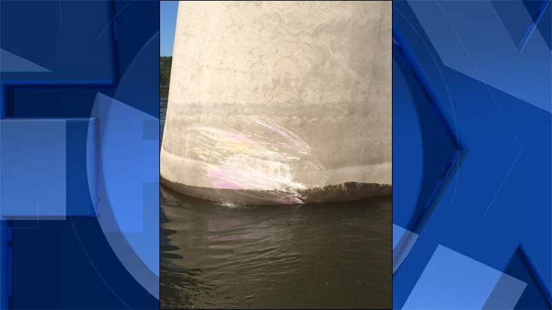 Glenn Jackson Bridge pylon hit by boater in deadly crash in Columbia River. (Photo: Multnomah County Sheriff's Office)