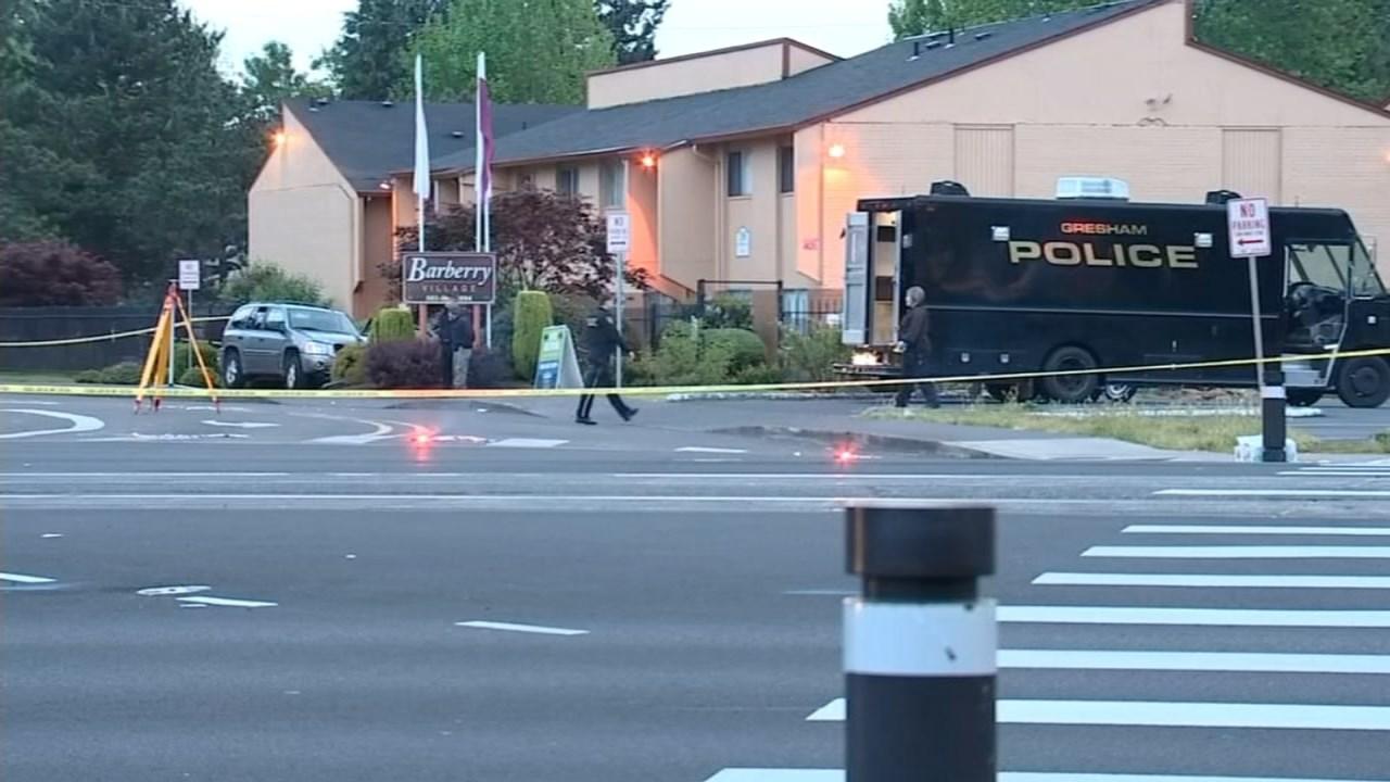 Crash scene in Gresham that preceded officer-involved shooting. (KPTV)