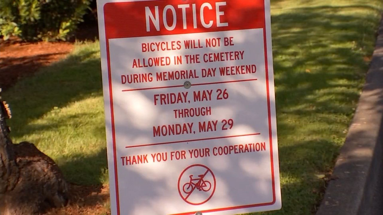 Local cemetery banning cyclists from using popular route Memorial Day Weekend