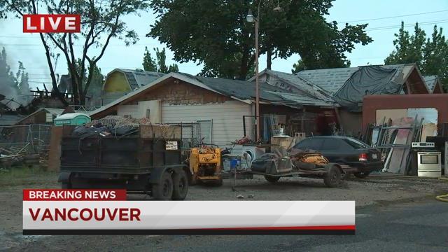 Crews battle large shop fire in Vancouver