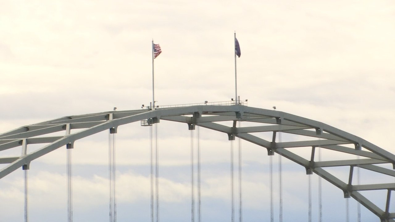 Flags on top of the Fremont Bridge (KPTV file image)