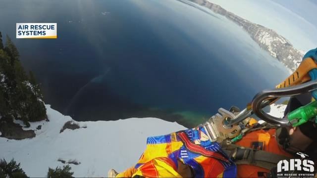 Caught on camera: Rescue crew reaches man who fell hundreds of feet at Crater Lake
