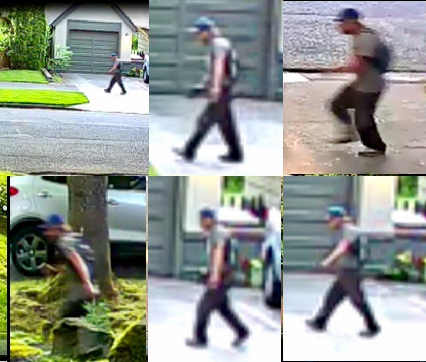 Surveillance image of suspect in northeast Portland. (Images released by Portland Police Bureau)