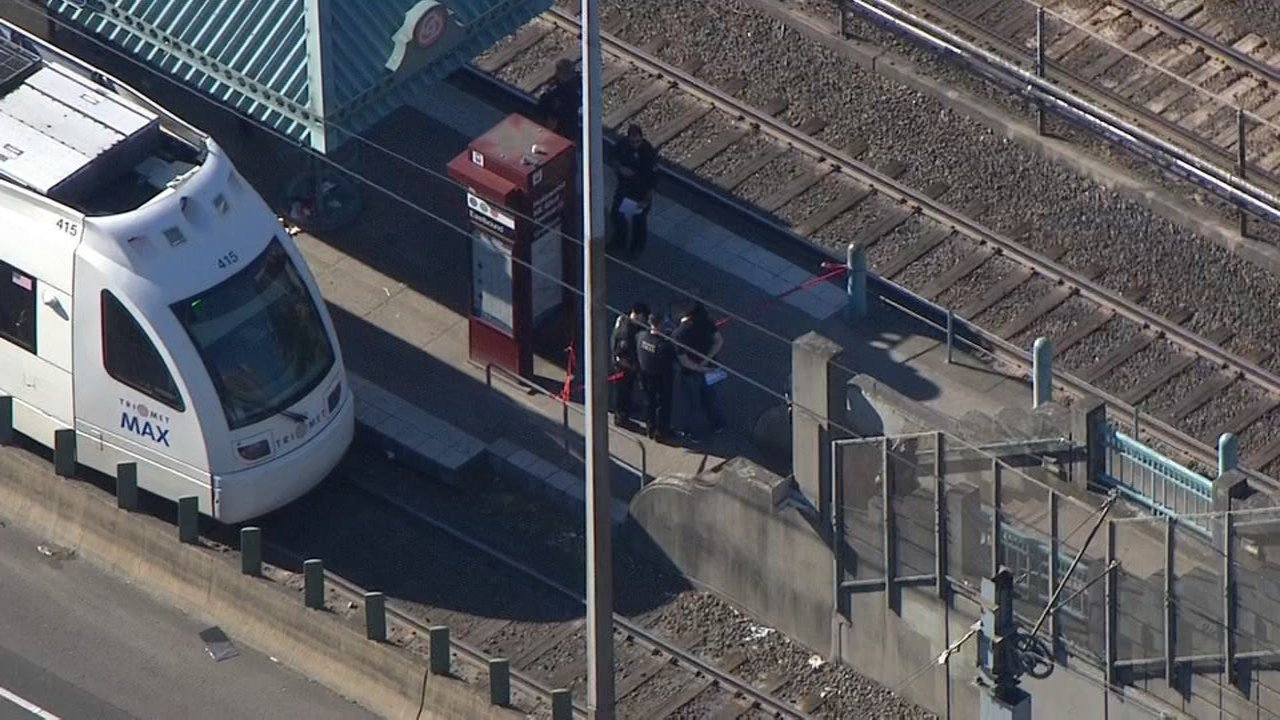 Deadly stabbing scene on a MAX train at the Hollywood Transit Center on Friday. (KPTV)