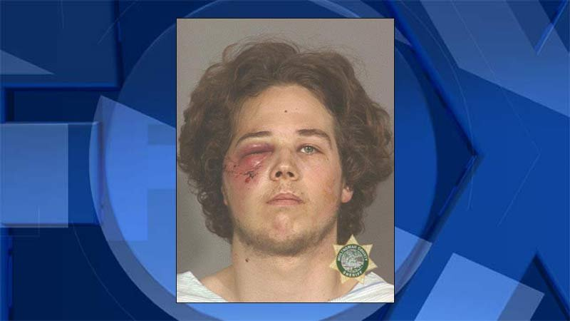 Jeremy Joseph Christian, 2002 jail booking photo after he was shot in the face by a Portland police officer.