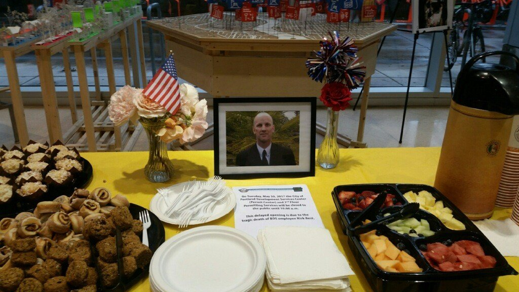 A picture of the office memorial for Rick Best, courtesy of an employee. (KPTV)