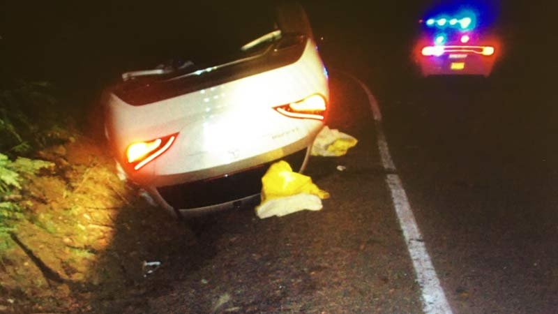 Image of car2go car involved in chase and crash on Highway 224. (Image: Clackamas County Sheriff's Office)