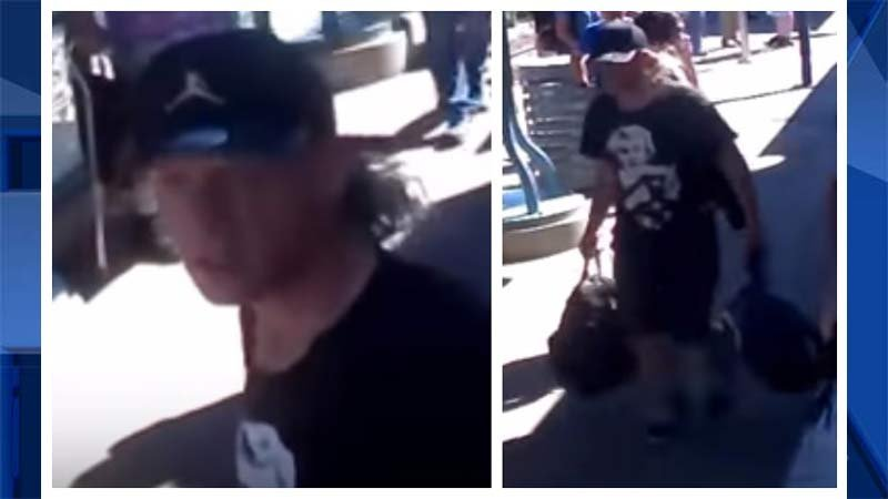 Surveillance image of theft suspect accused of stealing MAX train stabbing victim Ricky Best's wedding ring and backpack. (Images released by Portland Police Bureau)