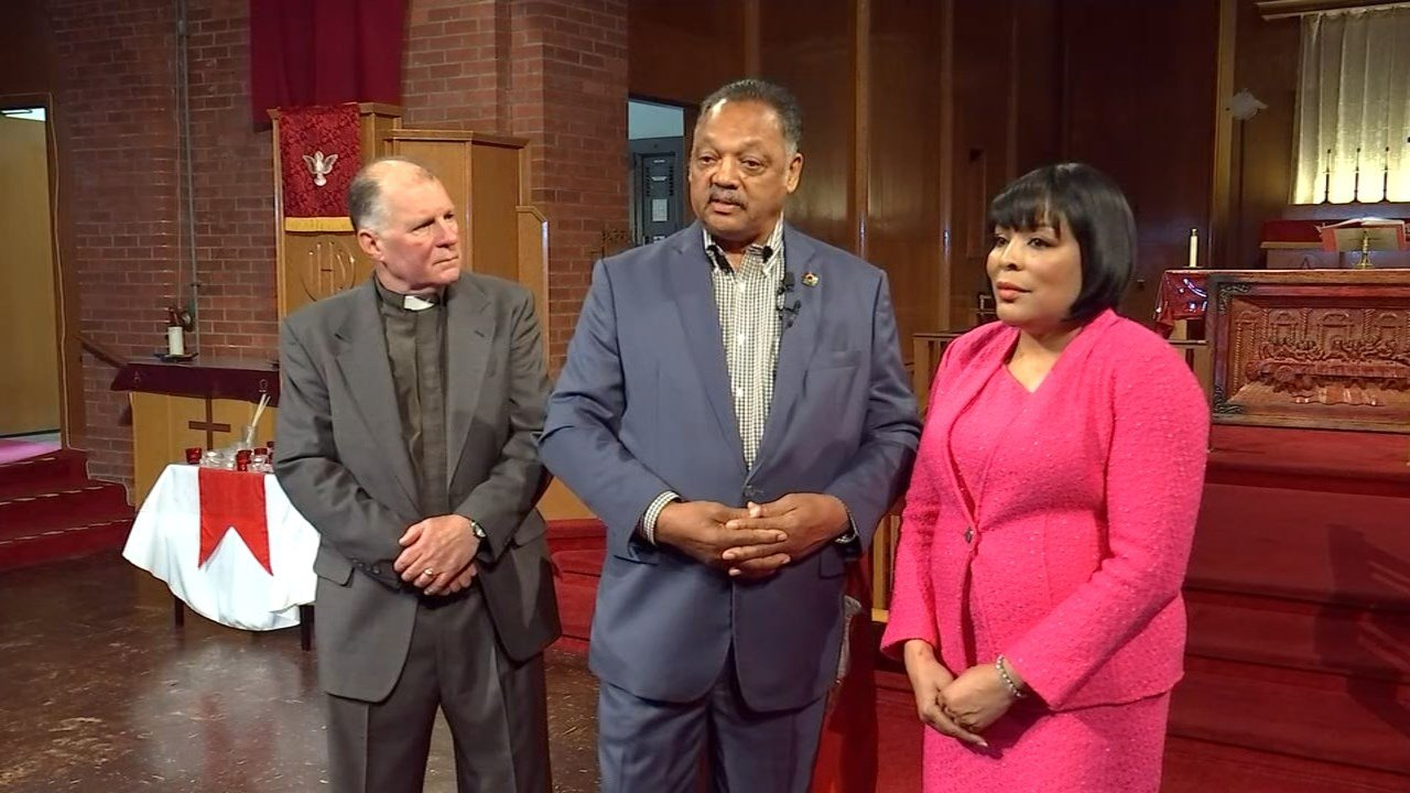 Rev. Jesse Jackson in Portland on Friday (KPTV)