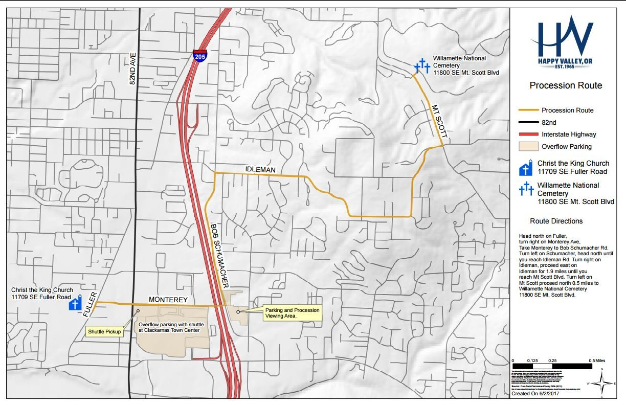 Memorial Procession Route (Courtesy: City of Happy Valley)