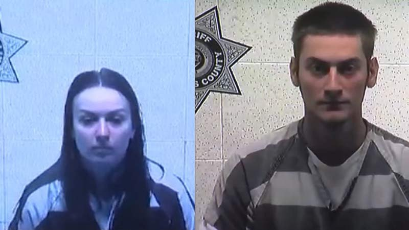 Sarah Mitchell and Travis Mitchell appeared in court Tuesday via video conference. (KPTV)