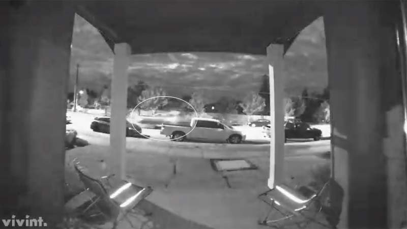Surveillance image of vehicle speeding away from the scene after someone threw a watermelon at a parked car. (Image: Oregon City Police Department/KPTV)