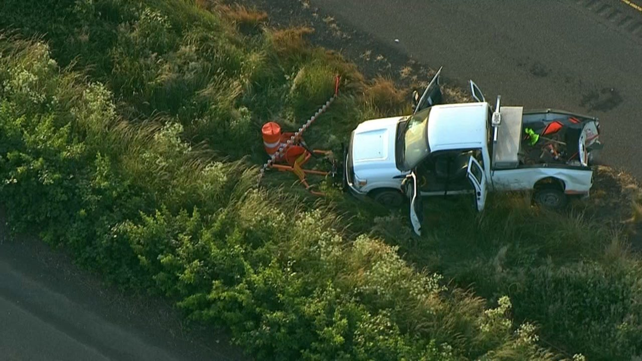 Construction vehicle hit on I-5 in deadly crash last week. (KPTV/Air 12)