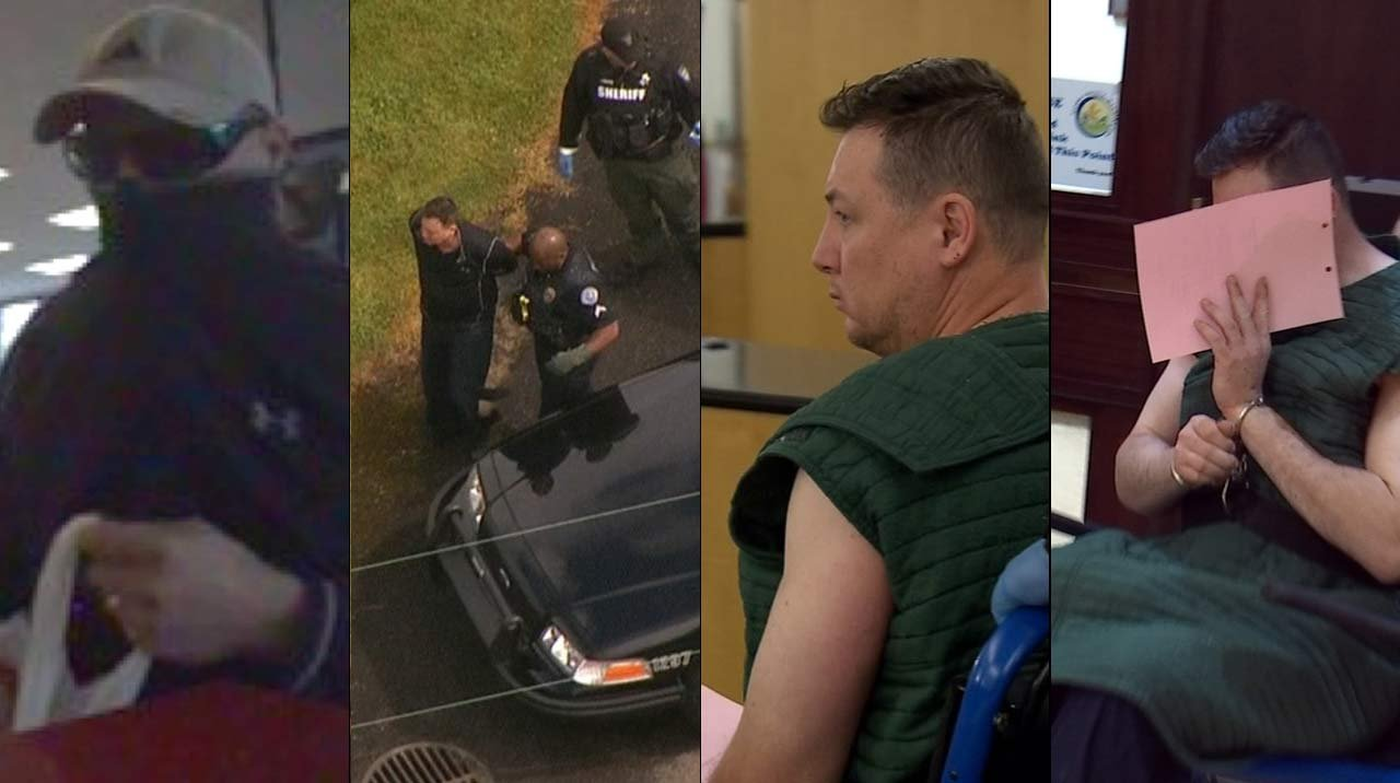 "From left: Surveillance image of the ""Sporty Spice bandit"" released by the FBI, Air 12 image of bank robbery suspect being taken into custody in Vancouver on Tuesday, Andrew Lehr in court Thursday and Lehr hiding his face outside the courtroom (KPTV)"