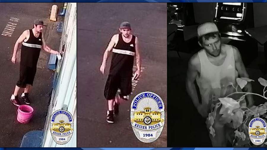 Surveillance images of armed robbery suspect (Keizer Police Department)