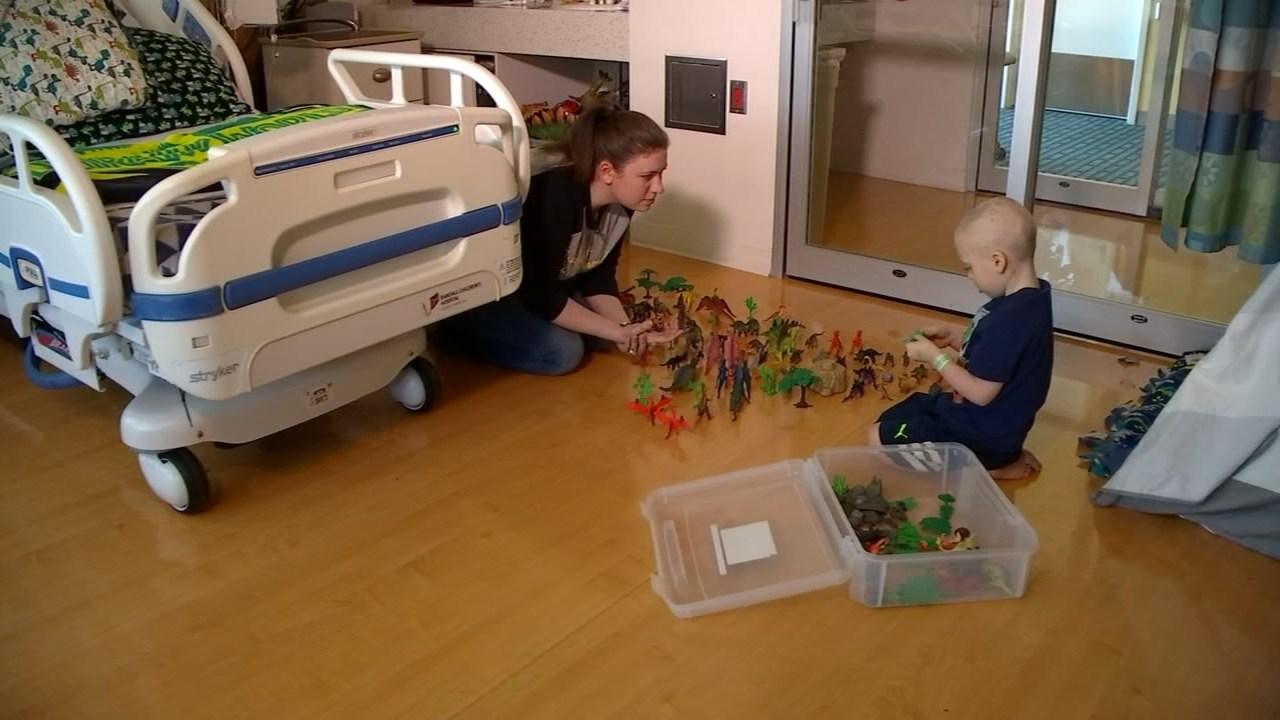 Declan with his mom Lauren at Randall Children's Hospital (KPTV)