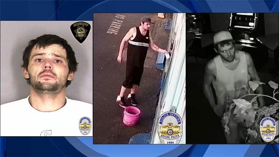 """Philip """"Luke"""" Lo Bue, jail booking photo and surveillance images provided by Keizer police."""
