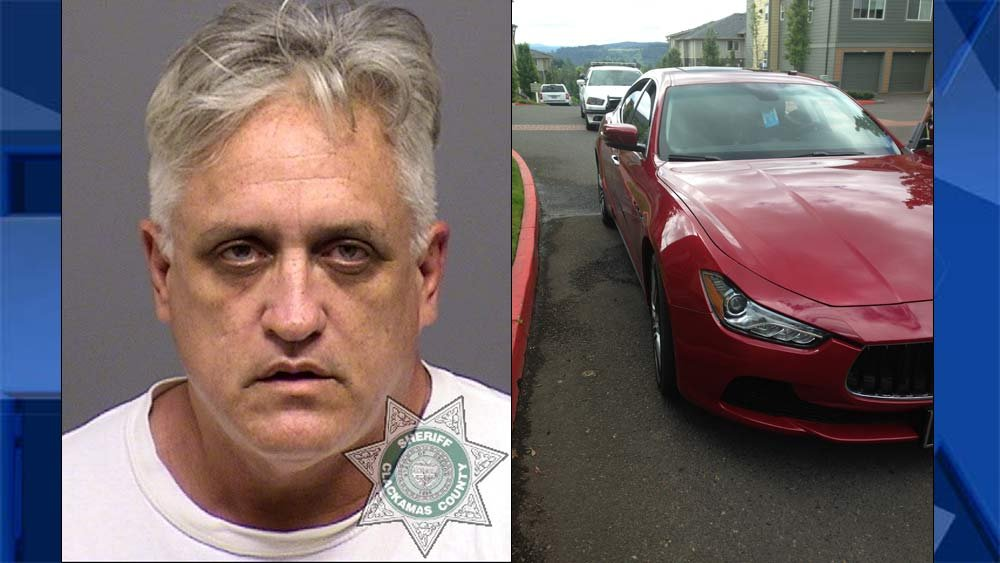 Harold Cubbedge, jail booking photo, and stolen Maserati stopped in Happy Valley. (Photos: Clackamas County Sheriff's Office)