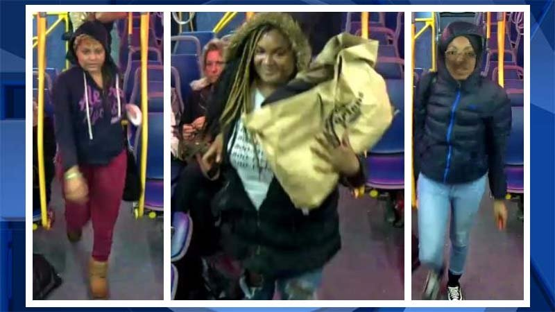 Surveillance images of suspects accused of using pepper spray and spitting on a TriMet driver. (Portland Police Bureau)