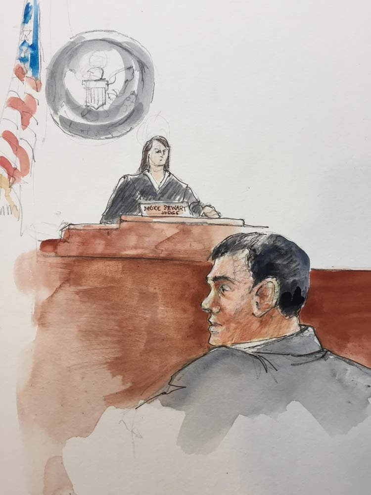Courtroom sketch of FBI agent Joseph Astarita in court Wednesday. (Courtesy: Deborah Marble)