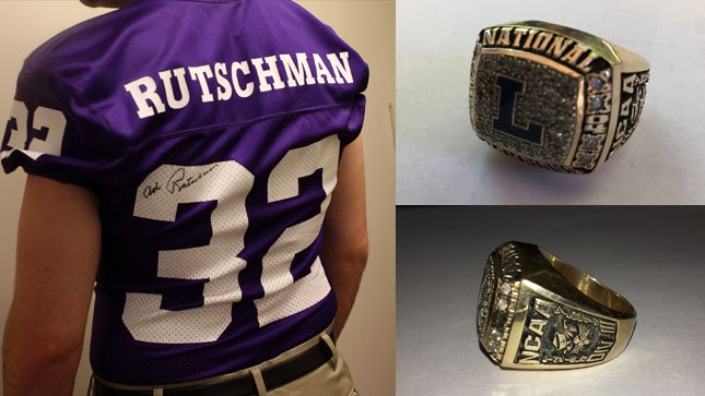 An Ad Rutschman jersey and 2004 championship ring similar to the ones pictured were stolen from the college. (Photos: Linfield College)