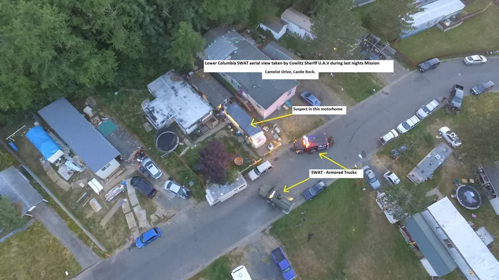 Drone photo of SWAT scene near Castle Rock (Courtesy: Cowlitz County Sheriff's Office)