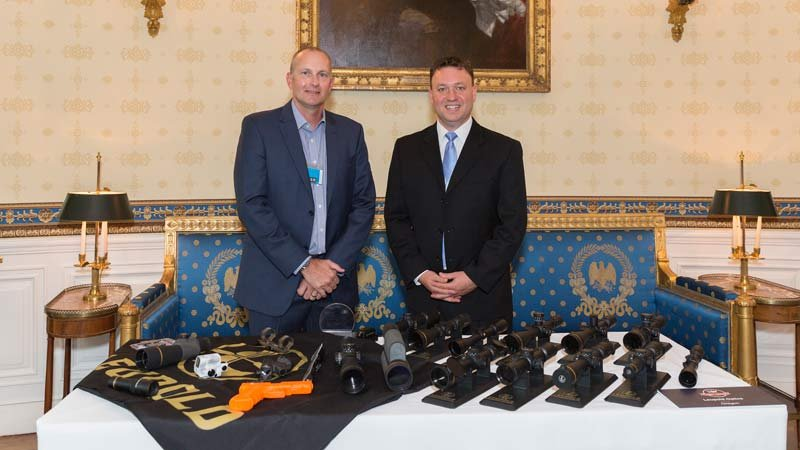 "Rob Need and Shane Meisel of Leupold and Stevens in Washington D.C. for ""Made in America"" week. (Photo: White House)"