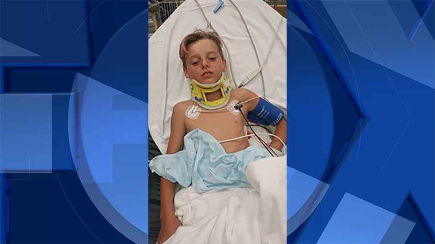 12-year-old Tyler in the hospital after the hit-and-run. (Courtesy: Kirk Miller)