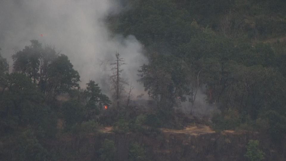 AIR 12 over scene of grass fire.