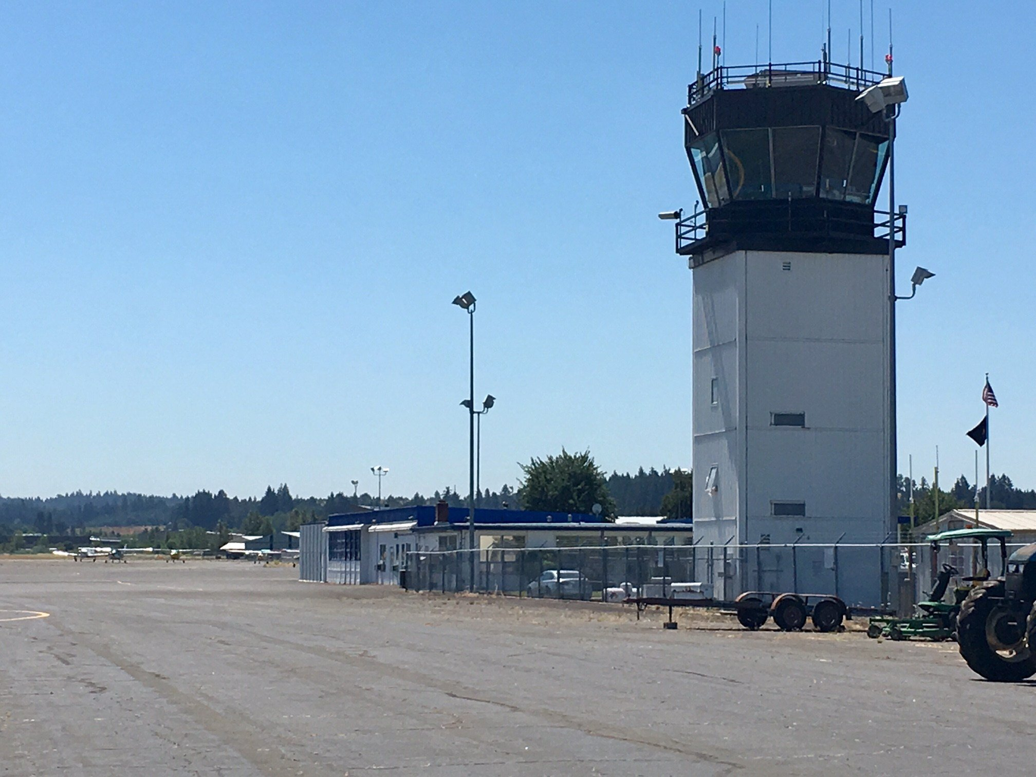 The air traffic control tower at McNary Field.