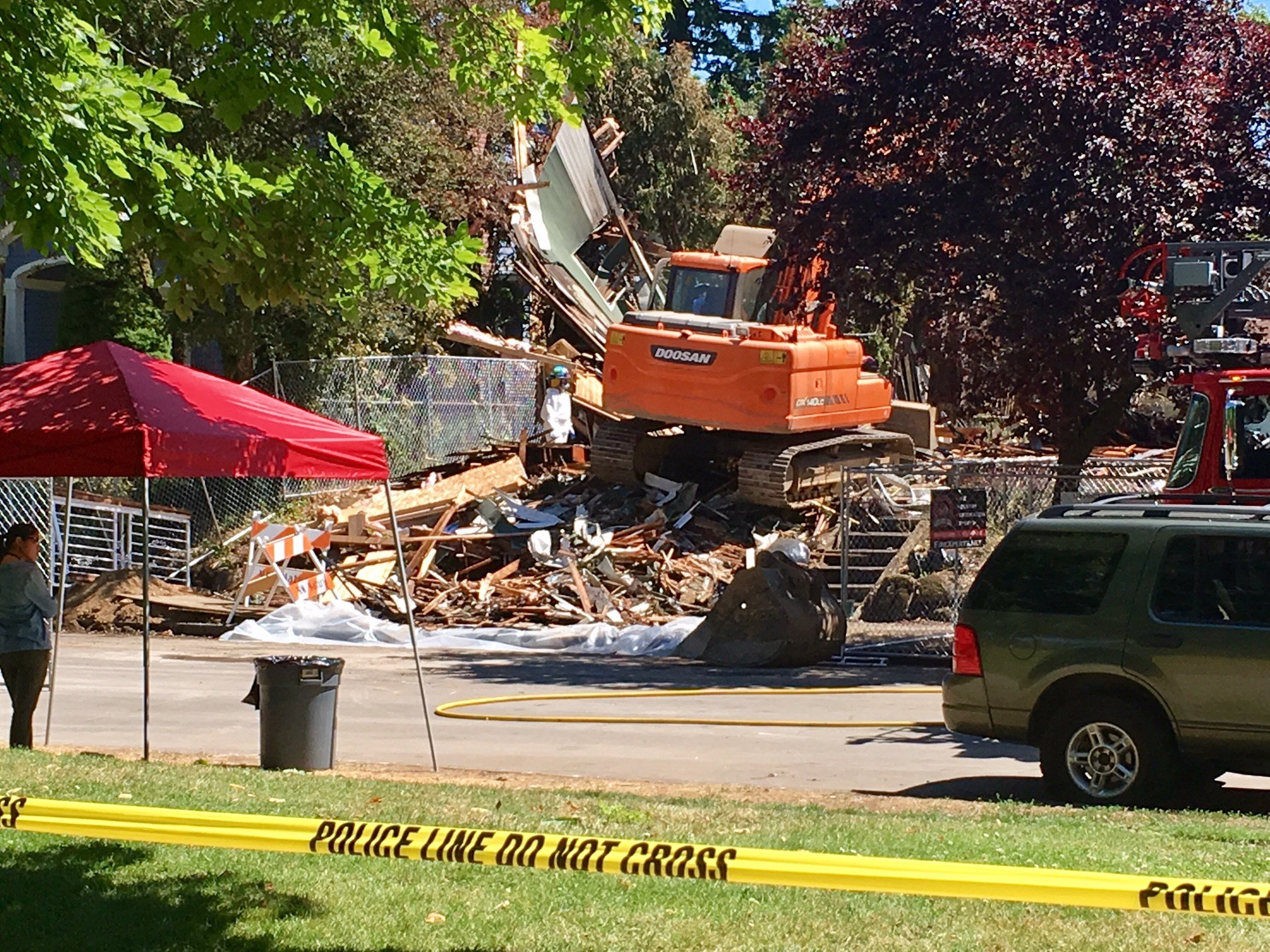 The scene of Monday's home explosion on North Kerby Avenue in Portland.