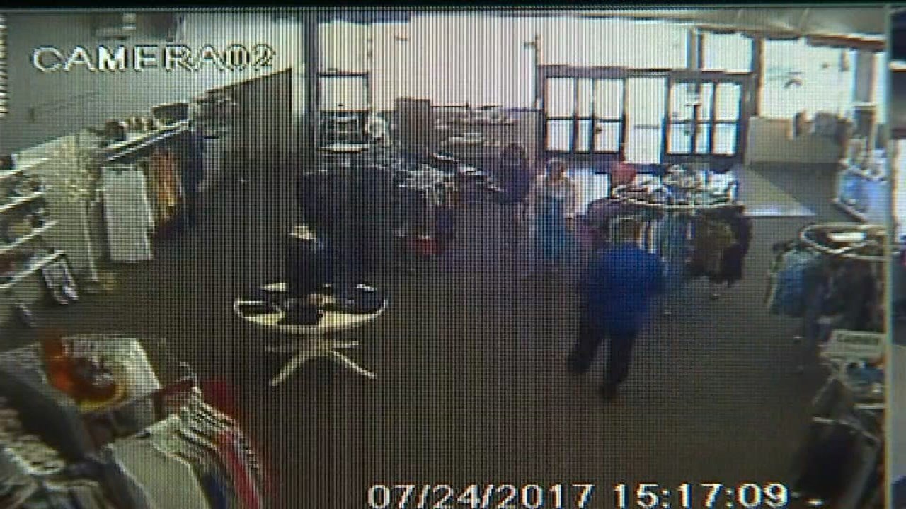 Employees believe a man in a blue shirt was responsible for thefts at Spanky's Consignment in Vancouver. (Image: Spanky's Consignment/KPTV)