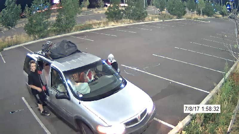 Car vandalism suspects at Tacoma Park & Ride in Portland (Image released by TriMet/Milwaukie Police Department)