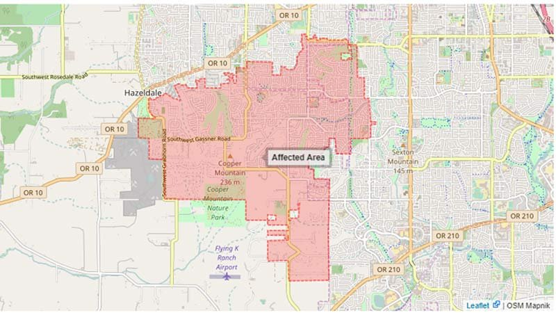 Boil water notice for area south of Farmington Road was lifted Thursday. (Image: Tualatin Valley Water District )