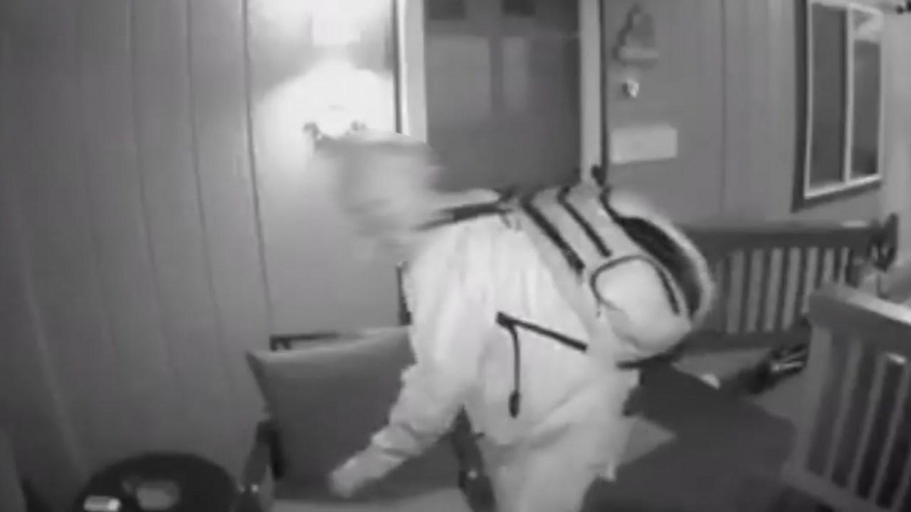 Surveillance image of Hayden Island porch prowler. (KPTV)