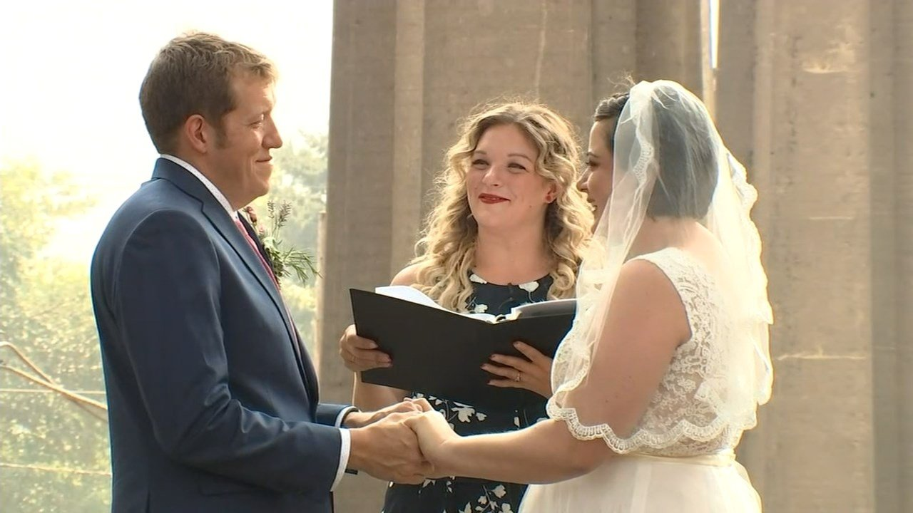 Wedding of Scott Richardson and Meghan Borato at Cathedral Park during the heat wave in Portland. (KPTV)