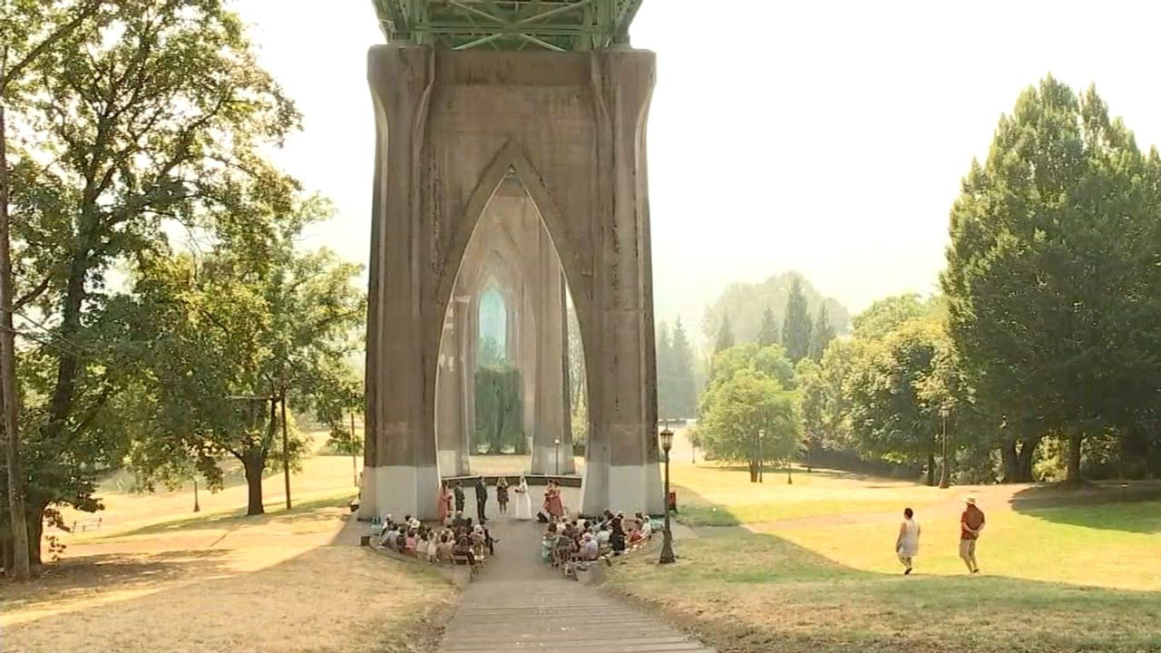 Wedding at Cathedral Park under the St Johns Bridge during the heat wave in Portland on Thursday. (KPTV)