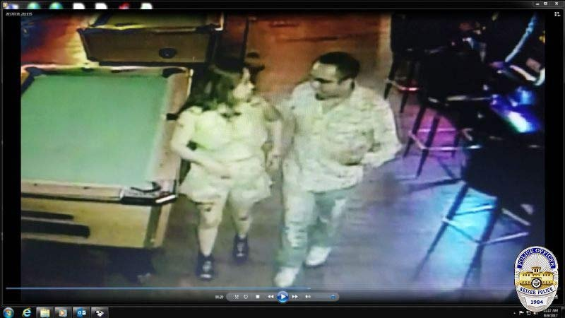 Surveillance image showing Cynthia Martinez and Jaime Alvarez-Olivera at Tequila Nights Bar & Grill in Keizer on July 16. (Image released by Keizer Police Department)