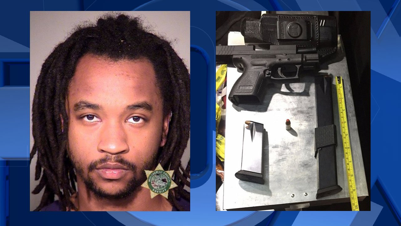 Traemon Franklin, jail booking photo; Handgun and magazine found in the suspect's pockets (Photo: Portland Police Bureau)
