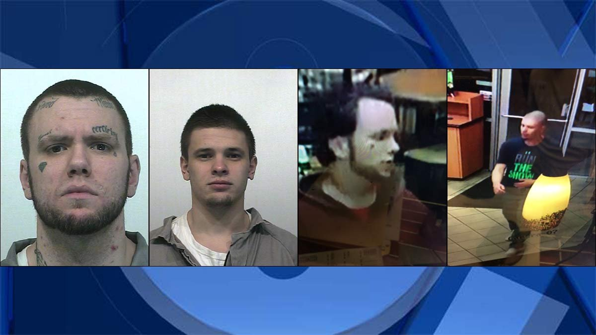 Booking photos and surveillance images of Tyray Munter and Maksim Petrovskiy. (Washington Department of Corrections)