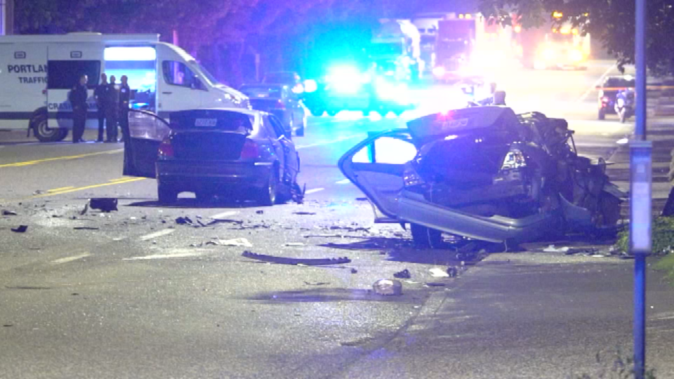 Scene photo from the June crash along Columbia Boulevard.