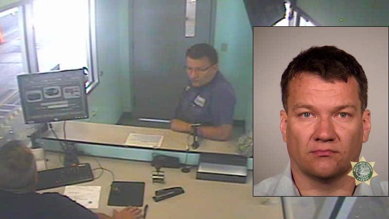 Sergey Fesik surveillance image and jail booking photo (Images: Oregon State Police)