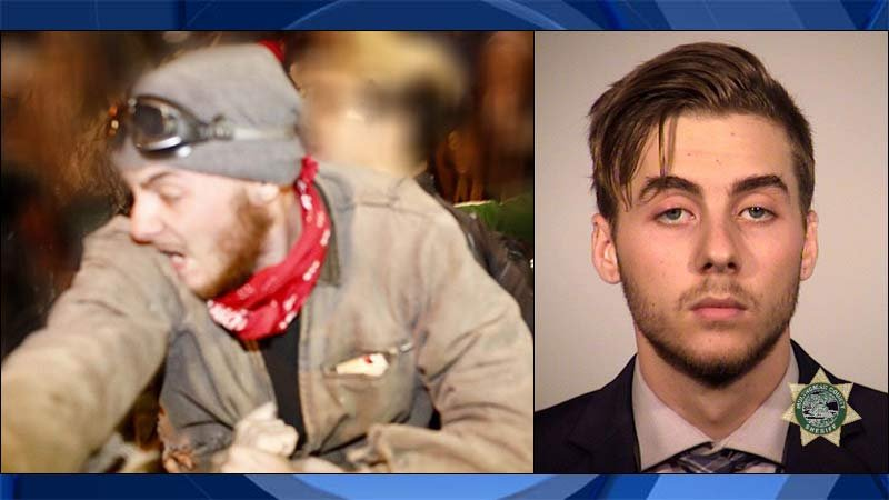 Photo from Portland Police Bureau of Samuel Kusaj during riot in November on left, most recent jail booking photo on right.