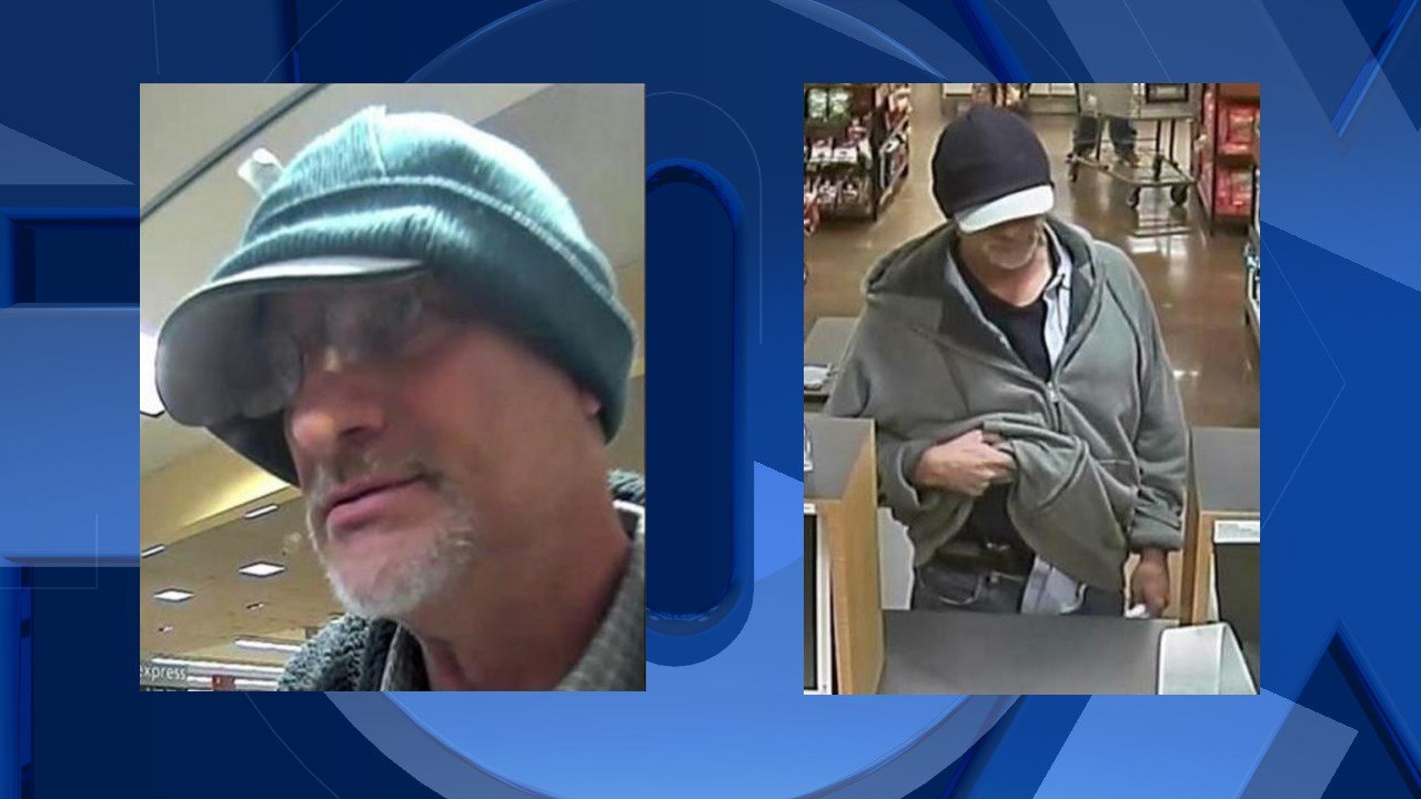 "Serial bank robbery suspect dubbed the ""Double Hat Bandit."" (Images courtesy FBI-Oregon)"