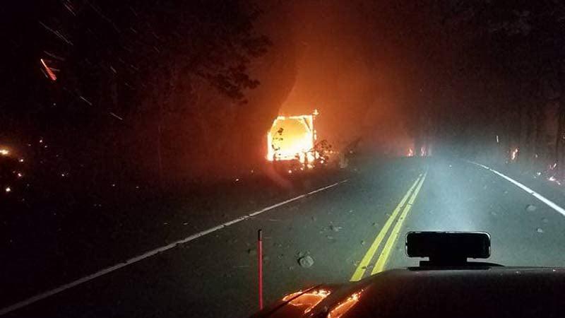 Photo of Eagle Creek Fire burning through Oneonta Gorge tunnel. (Photo courtesy: Doug Gross)