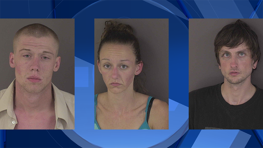 (From left to right) Bradley Bethell, Kendallyn Jones, and Jeremy Crowell, jail booking photos. (Courtesy: Linn County Jail)