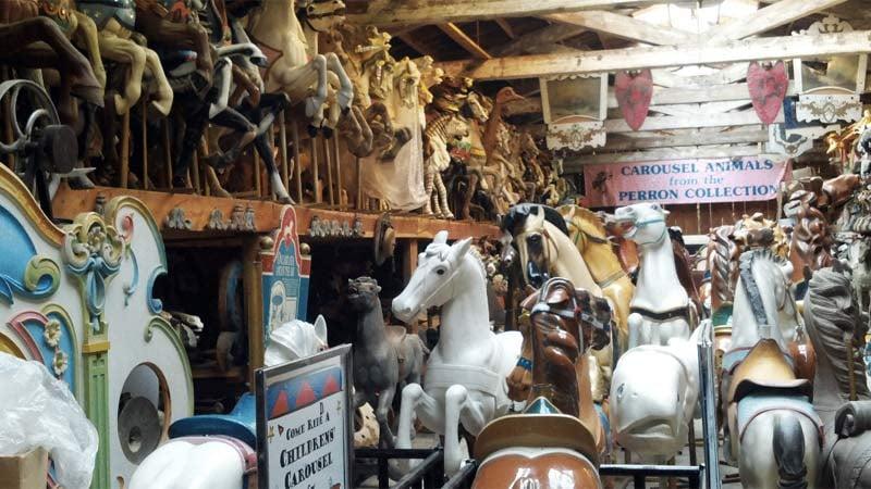 Jantzen Beach carousel in storage. (Image: Restore Oregon)